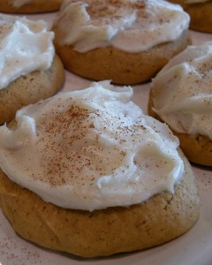 pumpkin cookies w/ cream cheese icing