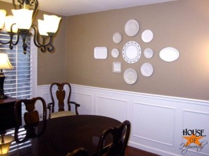 How to make a big statement on an even bigger blank wall; decorating with plates.