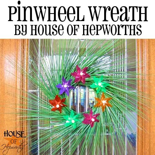 Pinwheel Wreath; dollar store style