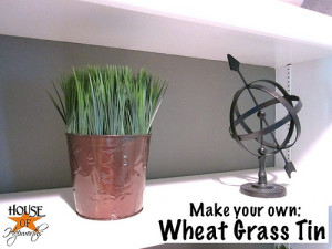 Another cheap & easy Dollar Store decor; Wheat Grass Tins