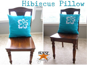 Hibiscus pillow from a bedsheet