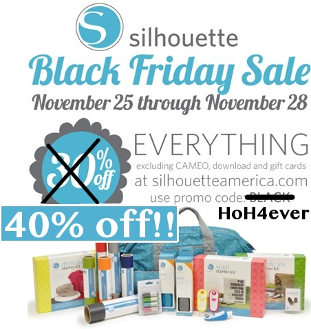 awesome SILHOUETTE discount (40% off!) and Cameo offer {Black Friday promotion}