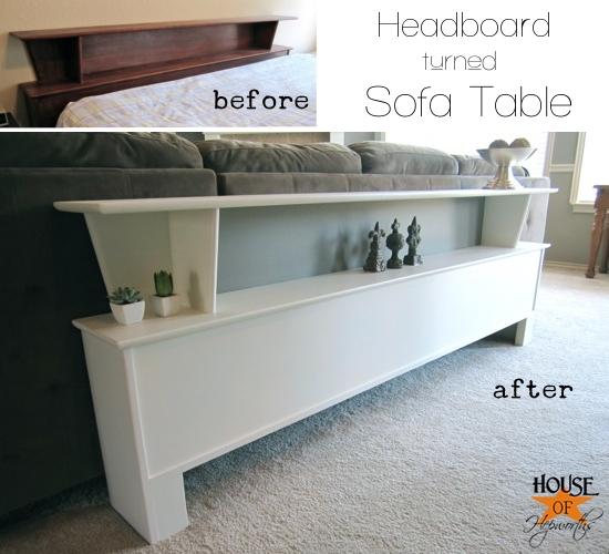 Headboard turned sofa table turned buffet table turned…