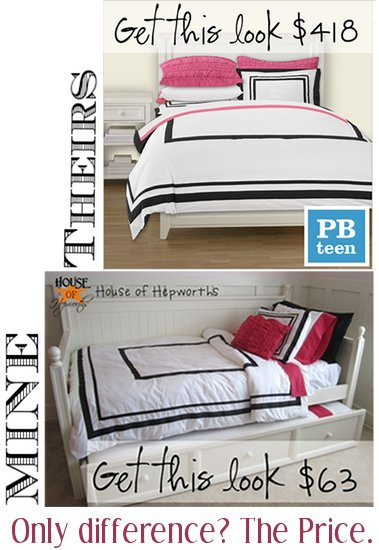 I knocked-off some PBTeen bedding and saved $355! {daughters new bedding}