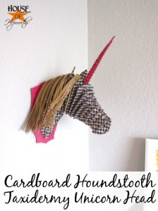 Cardboard Houndstooth Taxidermy Unicorn Head