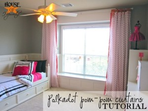 Polkadot pom-pom curtains tutorial