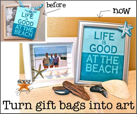 Turn gift bags into {cheap} art