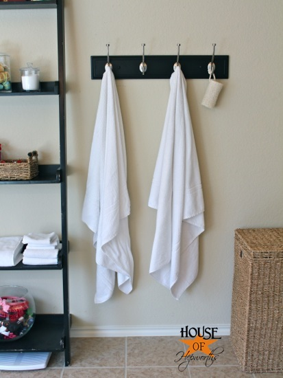 master bathroom update new towel hooks house of hepworths - Bathroom Towel Hooks