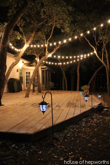 Add outdoor mood lighting for a big impact house of hepworths i added a few strands of string lights and a trio of lanterns to create this custom outdoor lighting its an instant party in our backyard now aloadofball Gallery
