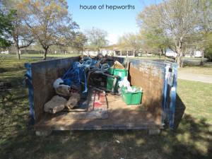 The art of filling up a huge dumpster