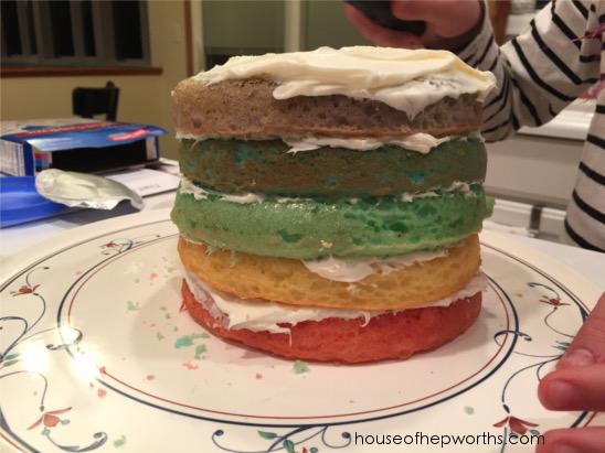RAINBOW cake! So pretty when you cut into it.