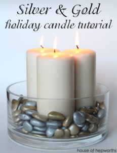 Silver & Gold holiday candle tutorial