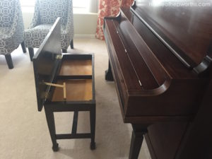 The piano bench gets new hinges and a make-under