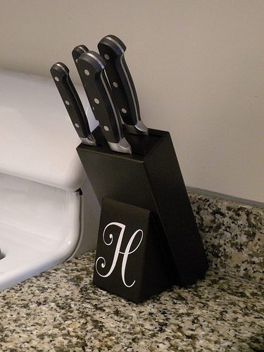 Monogrammed knife block