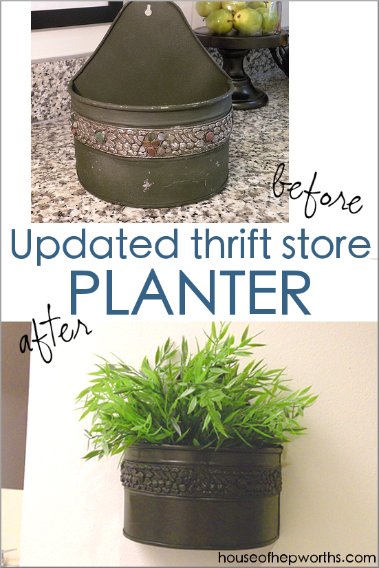 Updated thrift store hanging planter WALL DECOR