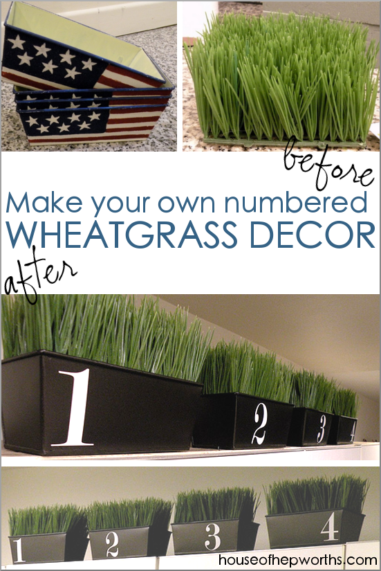 Farmhouse containers! Wheatgrass & vinyl numbers
