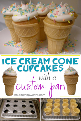 Ice Cream Cone Cupcakes with a custom pan!