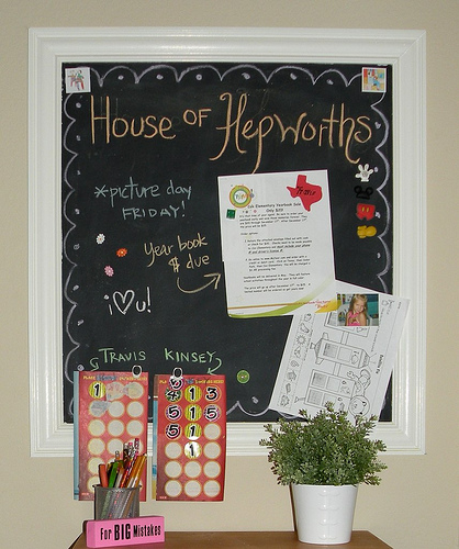 magnetic chalk board message station
