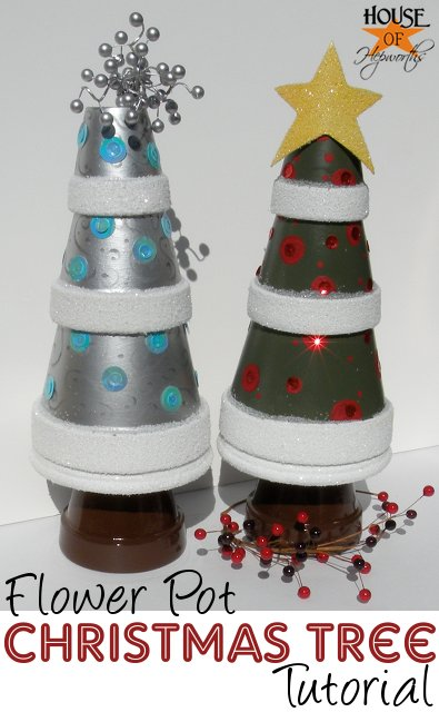 Silver Christmas Tree from terra-cotta pots