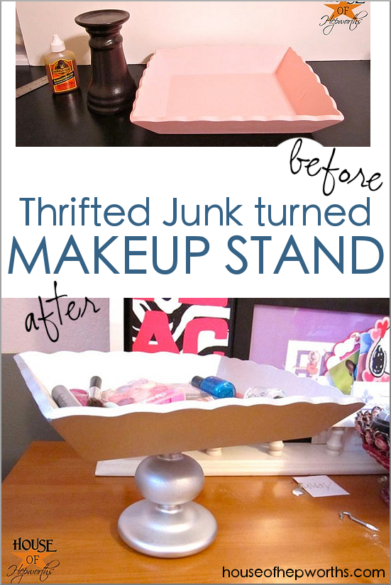 Thrifted junk turned into a MAKEUP stand! Perfect for teens!