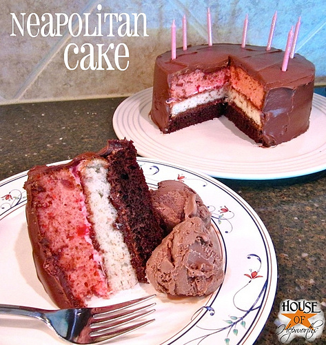 Let them eat {birthday} cake! [Neapolitan cake]