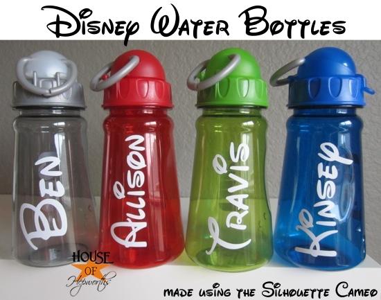 Easy custom monogrammed Disney Water Bottles tutorial