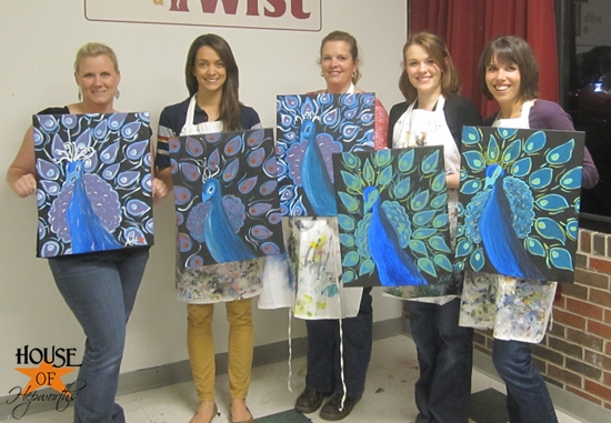 Painting Peacocks with my blog girlz