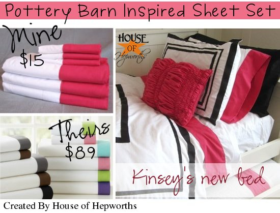 PBTeen inspired bed sheets DIY & tutorial {Bedding Week}