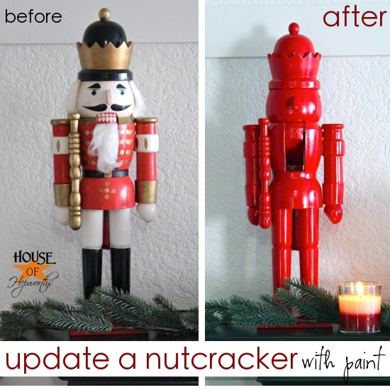 Update holiday decor with spray paint (the big red nutcracker post)