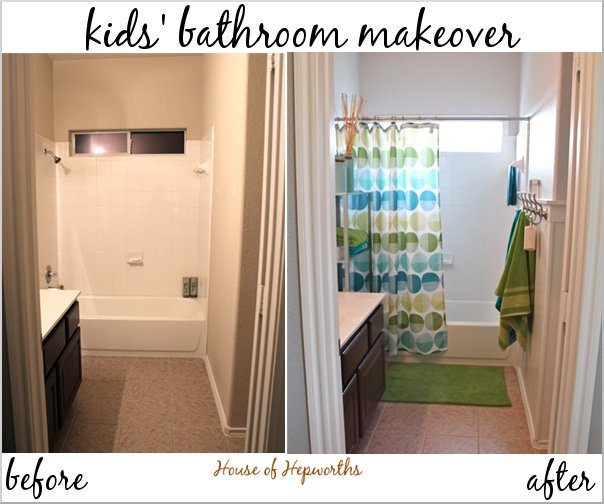 Check out the kids' teal and grass green bathroom makeover