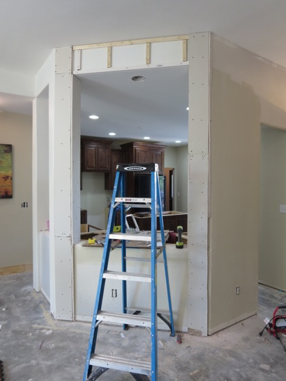 The updated columns in the kitchen