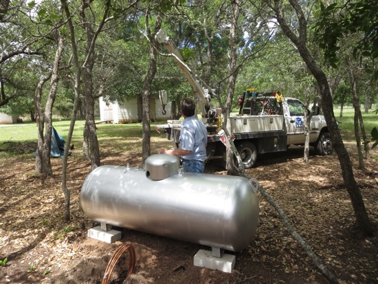 Installing our very own propane tank