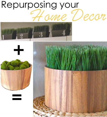 Repurposing old home decor;  Wooden Wheatgrass Bowl