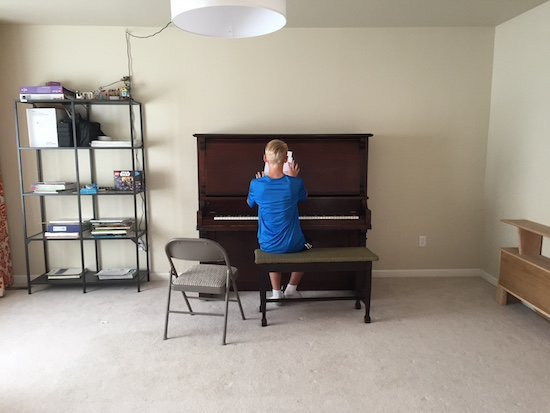 New Piano! FINALLY! + how to cover a piano bench with fabric