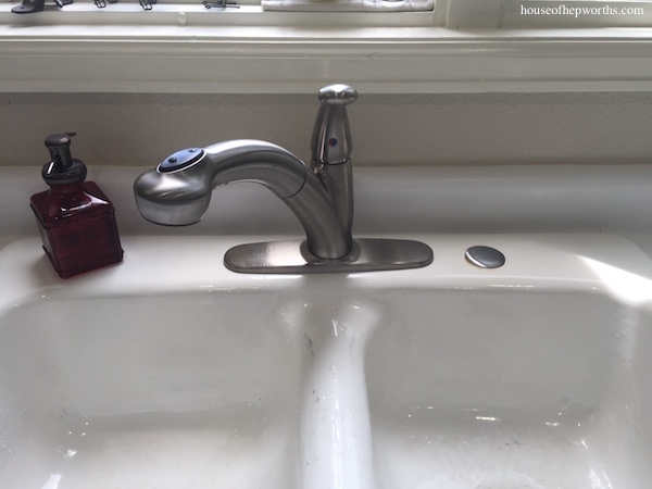 Replacing a broken in-sink soap pump with a sink hole cover