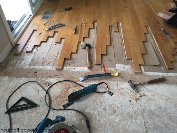 Refinishing hardwood floors, part 1 – weaving new flooring into existing
