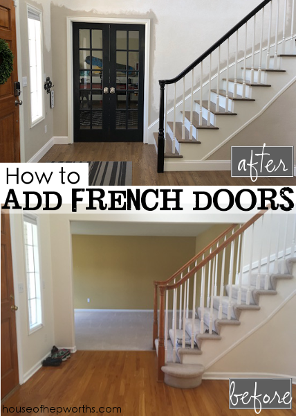 How to add french doors & close in a wall